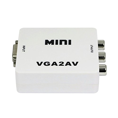 LEDMOMO 1080P Mini VGA a AV RCA convertidor PC a TV PAL NTSC adaptador (blanco)