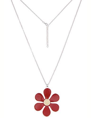 Leslii Damenkette Colour Flower Blumenkette Blüte Halskette Modeschmuck aus Metalllegierung Länge 85cm in Silber Rot