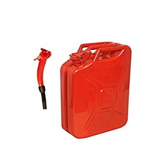 20 Litre RED Jerry Can with Red Spout - for Fuel Petrol Diesel etc