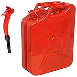 Jerrican rouge 20 litres avec bec rouge - pour carburant, essence, diesel, etc.
