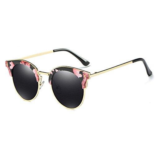 RLJJSH Sonnenbrillen Coole Persönlichkeit Halbrahmen UV-Schutz Sonnenbrillen Damen Männer Retro-Marke Sonnenbrillen Sonnenbrille (Farbe : Flower Border, größe : One Size)