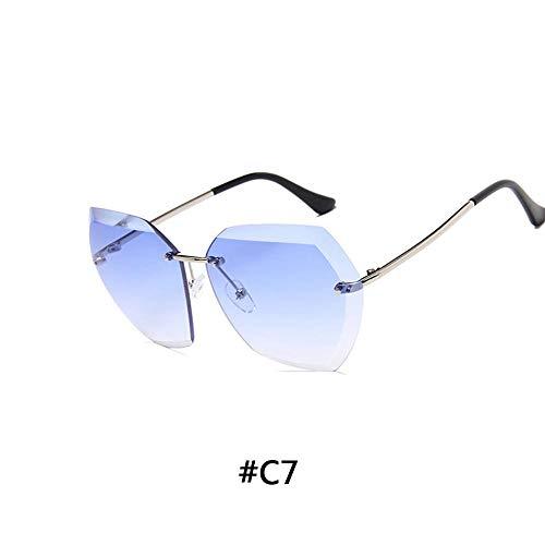 HUWAIYUNDONG Sonnenbrillen,Luxury Vintage Rimless Sunglasses Women Design Oversized Sunglasses Femalefor Mirror Shades Blue