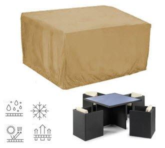Deluxe Polyestere Copri, Telo di copertura per Set soggiorno giardino, sedie e tavolo quadrato 117cm