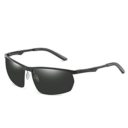 FYFY Herren Polarisierte Sonnenbrille mit Rechteckig Metallrahmen und Kohlefaser Brille Beine UV400 2019,Black
