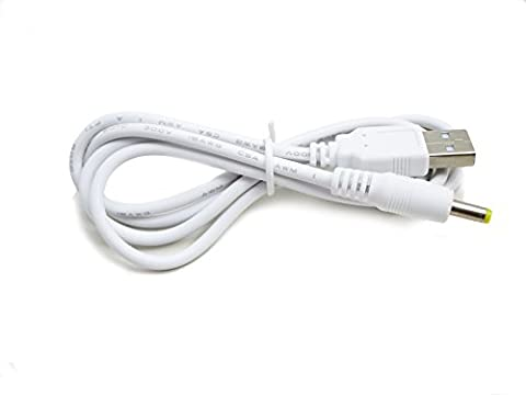 Kingfisher Technology 90cm USB 5V 2A PC White Charger Power Cable Lead Adaptor (18AWG) for Panasonic Sanyo Gorilla Car Navigation System GPS