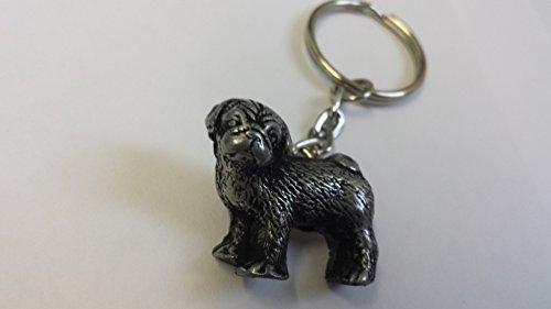 Stehender Mops Zinn-Effekt 3D Emblem auf eine getrennte Schlüsselanhänger, handgemacht (Schlüsselanhänger Charm Dog Lover)