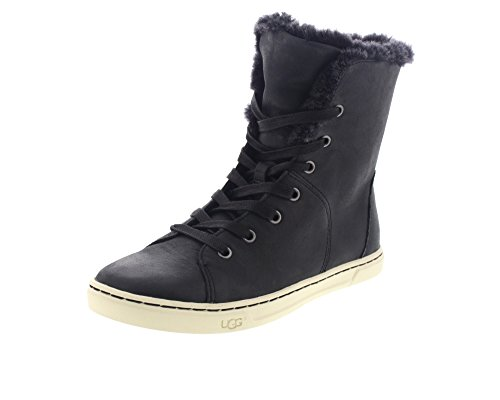 ugg-australia-womens-croft-luxe-quilt-black-leather-lace-boots-in-size-38-black