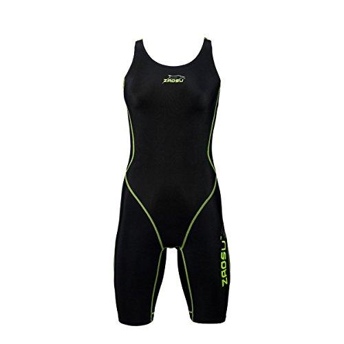 ZAOSU Wettkampf-Schwimmanzug Z-Black - Badeanzug für Mädchen und Damen, Größe:40, Farbe:Schwarz/Grün