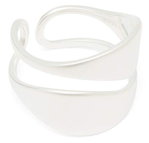 Louise Kragh Damen Ring Silber Leaf: Mit Blatt Anhänger außergewöhnlich und modisch 925 Silber matt glänzend - Größe 52 - RLEA0402s