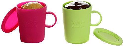 YOKO DESIGN 1272 Mug Cakes Coffret de 2 Mugs Silicone Platinum Vert/Fuchsia 18,5 x 9,5 x 10 cm