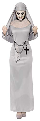 Smiffy's 43728M - Gothic Nonne Kostüm mit Dress und Kopfstück
