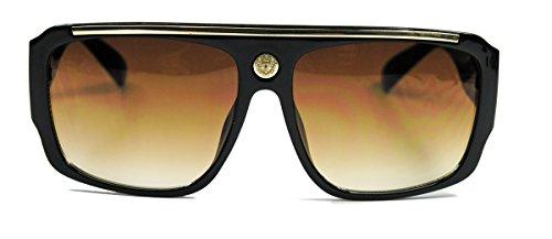 (Retro Sonnenbrille für Herren Medusa Design Old School Flat Top Modell FARBWAHL MMG (Glossy Black / Hennessy))