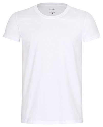 UnsichtBra Herren 3-er Pack Business Kurzarm Shirts | Slim Fit Unterhemden Rundhals (O - Ausschnitt) in Weiss (3 x Weiss, XL)
