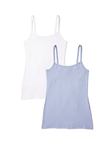 Iris & Lilly BELK024_M2 Débardeur, Blanc, 1 x Bleu Denim, Large, Lot de 2