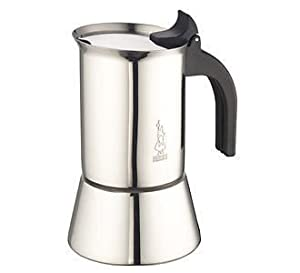 Bialetti Venus - Stove Top Espresso Maker - Stainless Steel with Black Insulated Handle - Various Sizes
