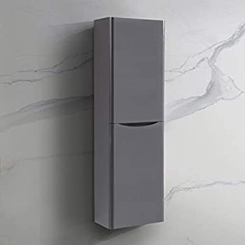 NRG 1400mm Gloss Grey Tall Cupboard Storage Cabinet Bathroom Furniture - Left Hand