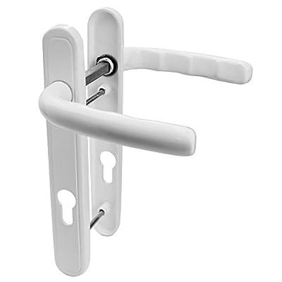 UPVC Door Handle 92mm PZ 122mm Fixing Centres Short Back Plate - inexpensive UK light store.