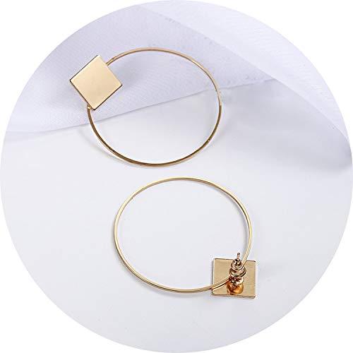 Modisches einfaches Design Geometrische Ohrringe Frauen Strass Acryl Metall Ohrringe Quadrat Rund Hand Stern-Ohrringe Pendientes, E0130Gold (Silver Earing Hooks)