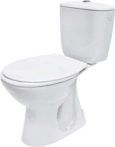Keramik Stand- WC Toilette Komplett -Design- Set mit Spülkasten WC- Sitz aus Duroplast für senkrechten Abgang Wasseranschluss Atlantic
