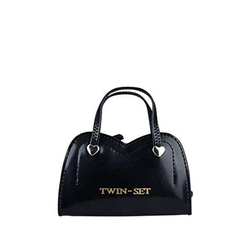 TWIN SET (Rigido) Portachiavi Sacchetto Donna Ecopelle Cuori Logo Col. Nero APA4WJ