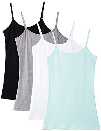 Neoteric Women's Cotton Adjustable Strap Slip Camisole Spaghetti Top Inner-wear -(neocns75, Multicolour, XS) - Pack of 4