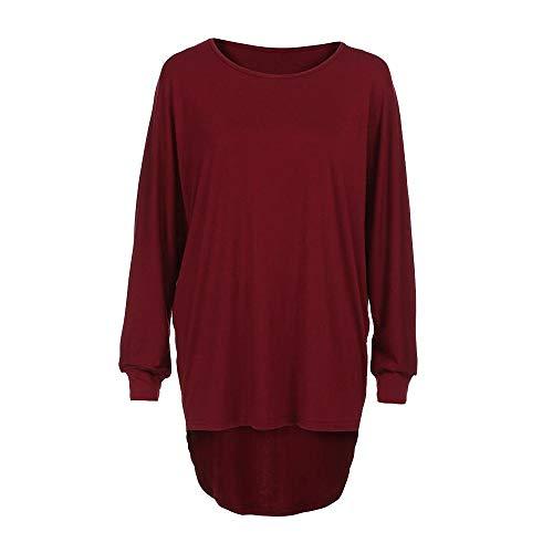 VEMOW Damenmode Tasche Lose Kleid Damen Rundhalsausschnitt beiläufige Tägliche Lange Tops Kleid Plus Größe(Y3-Weinrot, EU-48/CN-XL)