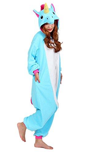 Aivtalk - Pyjama Combinaison Animaux Grenouillère Déguisement Carnaval Adulte Homme Femme Cosplay Costume Kigurumi Licorne Renard Ecureuil 155-185cm Licorne Bleu