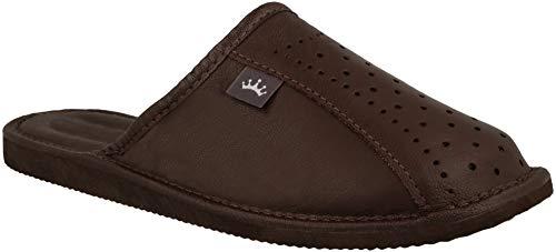 RBJ leather shoes . Herren Luxus Leder Hausschuhe Männer Pantoffeln Pantoletten Hausschuh Pantoffel (39 EU, Braun 891)