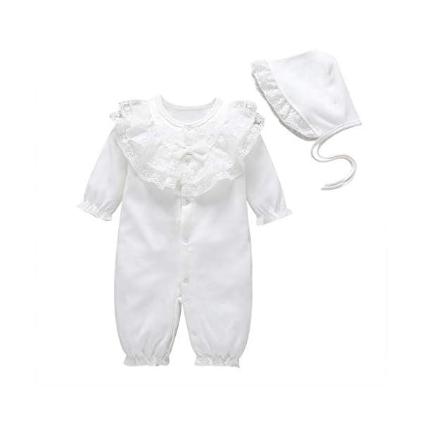 Mono Infantil Lindo bebé Niños niñas Color sólido Mameluco de Encaje con Volantes Trajes de Mono + Sombrero(3M-12M) 1