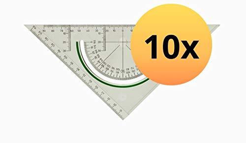 LINEX 100414166 Geodreieck S2622 10er Pack Super Ruler Geometrie-Dreieck 22 cm mit gegenläufiger Skala und Rutschbremse mit Facette glasklar