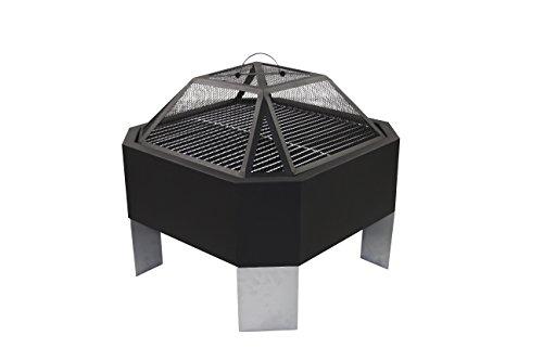 Preisvergleich Produktbild 1PLUS Feuerstelle Grill Partygrill León achteckig mit Funkenschutz, Grillrost, Schürhaken und Regenabdeckhaube