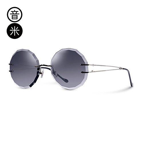 LLZTYJ Sonnenbrillen/Uv/Outdoor/Wind/Sonnenbrillen/Rahmenlos/Tintentläser/Frauen Runde Gesicht...