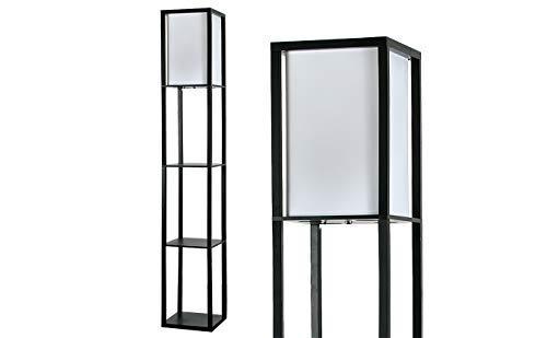 MiniSun – Moderne und schwarze Stehlampe aus Holz und weißem Gewebe mit eingebauten Regalen im skandinavischen Stil – Stehlampe mit Regalen