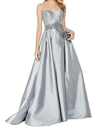 Royaldress Damen Satin Traegerlos Abendkleider Ballkleider Festliche Kleider  Promkleider mit Guertel A-Linie Lang Rock 776089b922