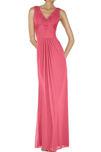 Ivydressing Sexy Neu V-Neck Chiffon Applikation Abendmode Bodenlang Abendkleider Paillette Ballkleid Wassermelone