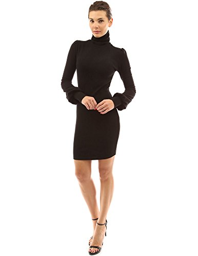 PattyBoutik Damen Rollkragen Pullover Kleid mit langen Bischof Ärmeln Schwarz