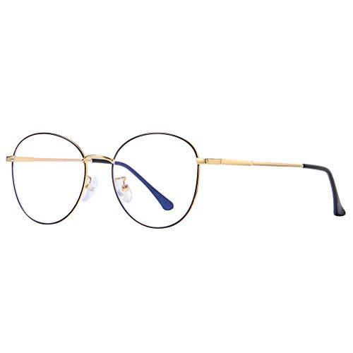 Lefu Round Retro Metall Anti-Blue Brillengestell Klare Linse mit Schlankem Rahmen Dauerhaft