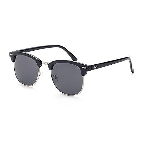 Panelize Retro Vintage Sonnenbrille Browline Stil 60er mit angesagtem Halbrahmen Trend 2017 2018 (Schwarz-Schwarz)