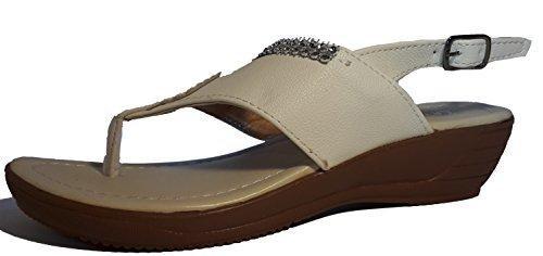 Sexy sandali, infradito donna, flip flop, beige, marrone, bianco, blu, rosso, nero-oro, rosa-rosso e leopardo, modello 11064105006001, modelli e numeri differenti. Weiß.