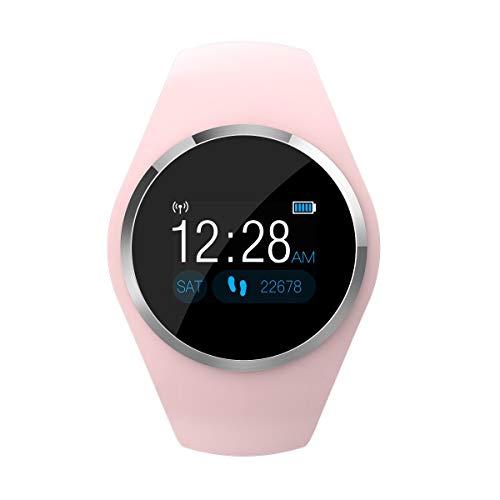 Imagen de meiwen2019 pulsera de actividad, reloj inteligente con pulsómetro y presión arterial relojes deportivos gps impermeable ip67 monitor de ritmo cardíaco actividad pulsera reloj fitness podómetro rosa  alternativa