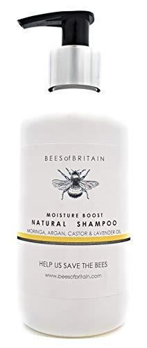100% NATURAL - CHAMPÚ Con ACEITE DE RICINO, MORINGA, ARGAN Y LAVANDA - 250 ml - por BEES of BRITAIN - Sin sulfatos, sin parabenos, sin productos químicos. Damos el 5% de ganancia para las abejas
