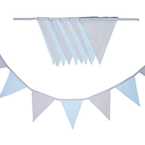 cozydots doppelseitig Wimpelkette, Stoff-Girlande, farbenfrohe Girlanden für Kinderzimmer & Baby Geburtstage, Kinderzimmer dekorieren,, 100% Baumwolle (Light Blue, 200)