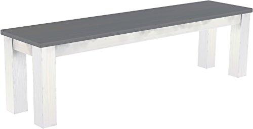 Brasilmöbel Sitzbank \'Rio Classico\' 160 cm, Pinie Massivholz, Farbton Seidengrau - Weiß