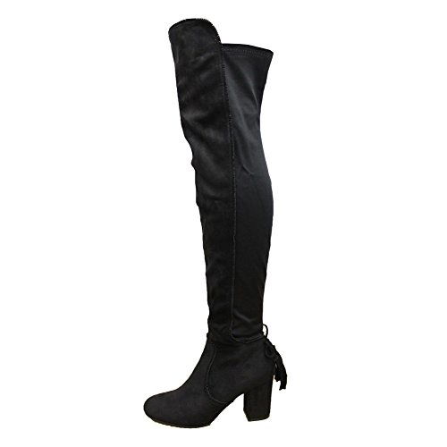 Ladies Womens Tassel Tie Fringe High Block Heel Shoes Thigh High Over Knee Boots
