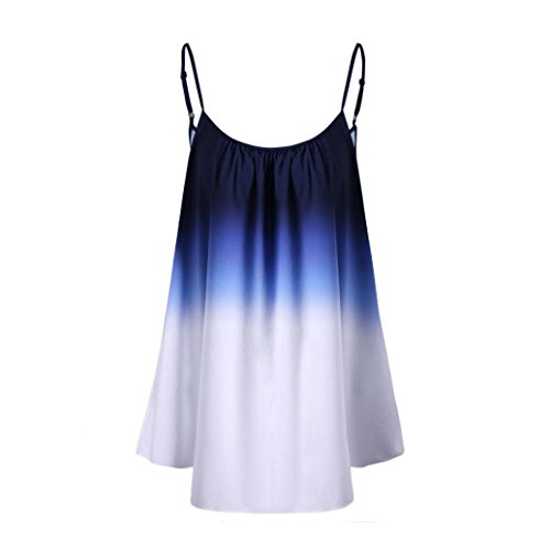 OSYARD Damen Lässige Farbverlauf ärmellose Ombre Cami Top Trim Tank Top Bluse(EU 46 / XL, Blue) -