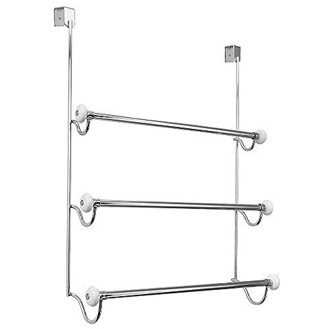 InterDesign 00760EU Cero Porte-Serviette sur Porte de Douche Chrome/Blanc