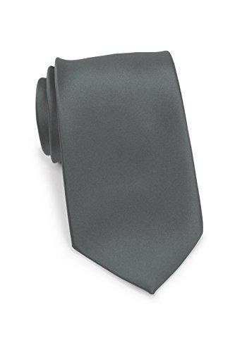 Puccini XXL Krawatte Herren, Einfarbig, verschiedene Farben, Krawatte Überlänge, Satin-Glanz, Mikrofaser, 8,5 cm, Handarbeit, Anthrazit, 160 cm lang, 8,5 cm breit