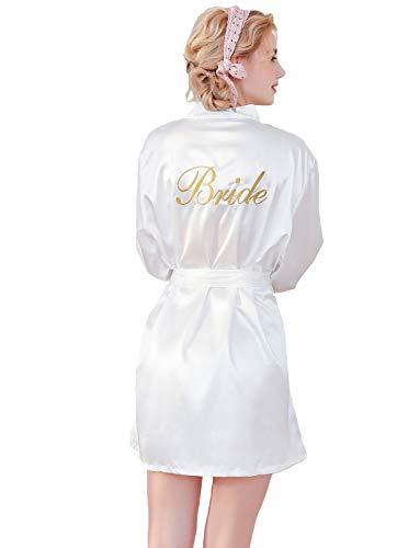 HAINE Damen Hochzeits Roben Satin Kimono Kurz Robe V Ausschnitt mit Gürtel (Weiß-M) - Kimono Roben Für Frauen Kurze Seide