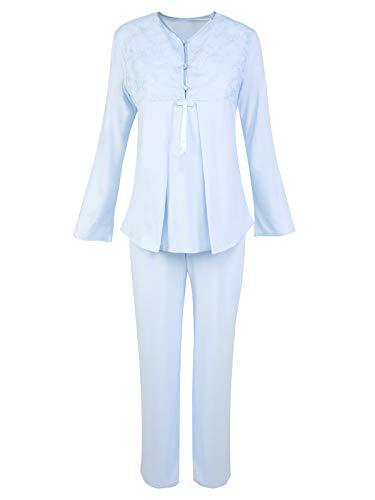 Roseanne Damen Stillpyjama Stillnachthemd Pyjama/Schlafanzug lang für Schwangerschaft und Stillzeit, Edler Nachthemd zum Stillen, Stillkleidung für die Nacht (S, Blau) -