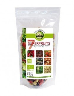Mélange 7 Super Fruits Bio Crues - Fèves de cacao, Baies de Goji, Physalis, Mulberries, Aronia, Pignons de cèdre de Sibérie, Chips de coco | 250g | Ecoidées